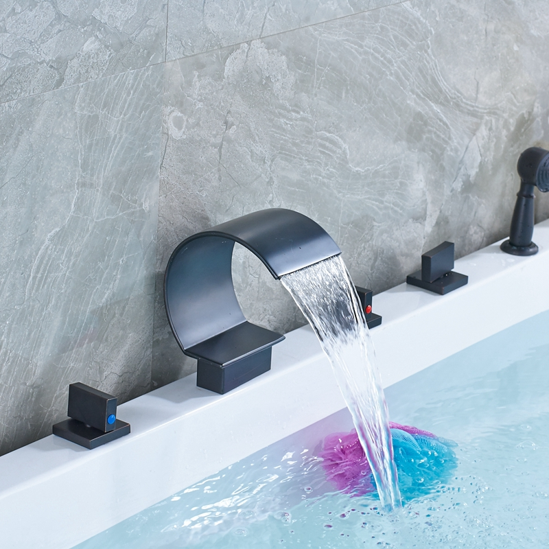 Deck Mounted Vessel Waterfall Spout Oil Rubbed Bronze Shower Faucet Mixer Tap