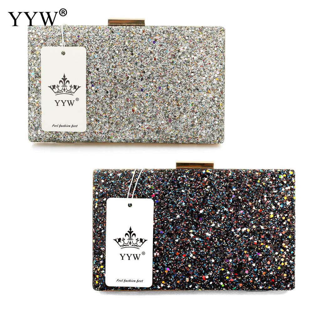 YYW Silver Glitter Clutch Evening Party Clutch Bag Fashion Women Luxury Purse Bags Black Pochettes Argente Wedding Crossbody Bag