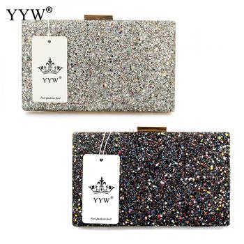 YYW Silver glitter clutch Evening Party Clutch Bag fashion Women Luxury purse Bags black pochettes argente wedding Crossbody