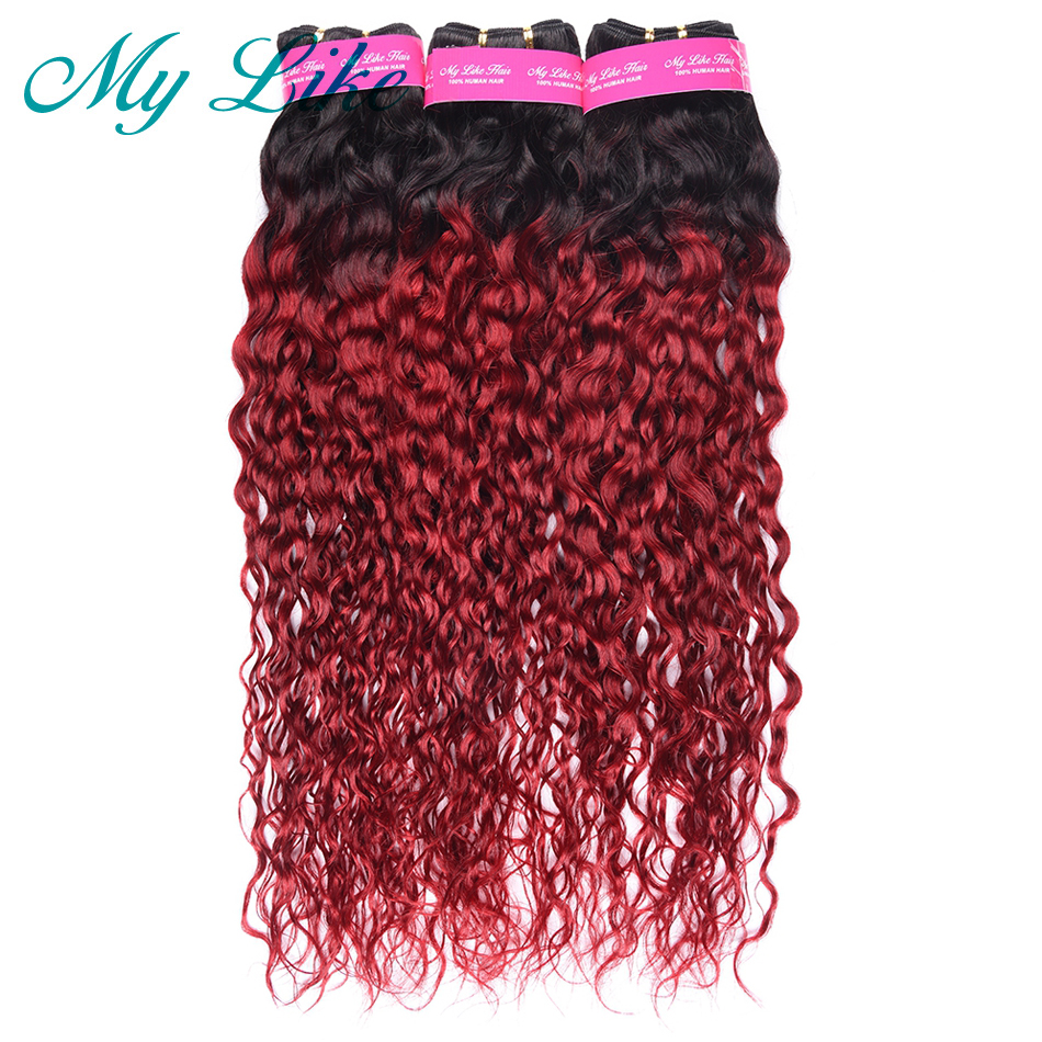 My Like Ombre Brazilian Hair Weave Bundle 1b burgundy Red Ombre Water Wave Human Hair Bundles Non remy Hair Extension 1/3 Bundle