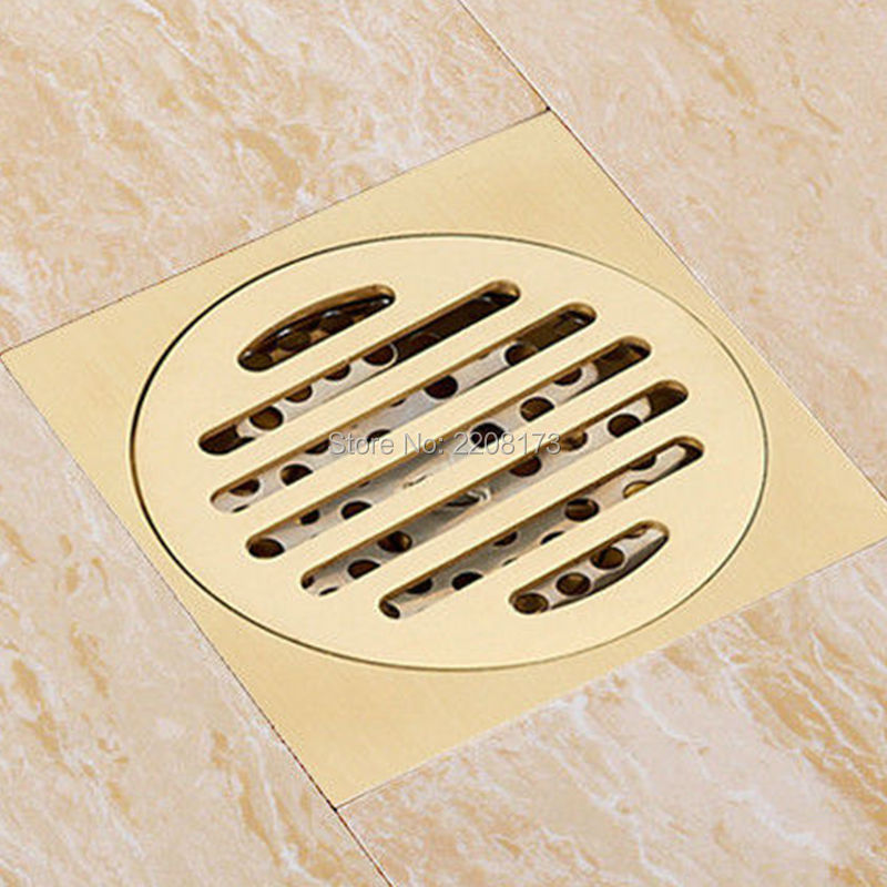Deluxe Golden Brass Solid T-type Floor Filler Anti-odor Bathroom Floor Drain Shower Waste Water Strainer