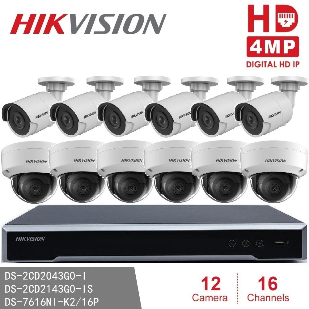 Hikvision Security Camera Kits DS-7616NI-K2/16P 16POE NVR & DS-2CD2043G0-I Bullet Outdoor & DS-2CD2143G0-IS Indoor 4MP IP Dome