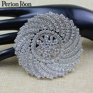 3.35 inch DIY Rhinestone Patches round flower Crystal applique decoration Hot-fix the clothes Accessories TJ 036