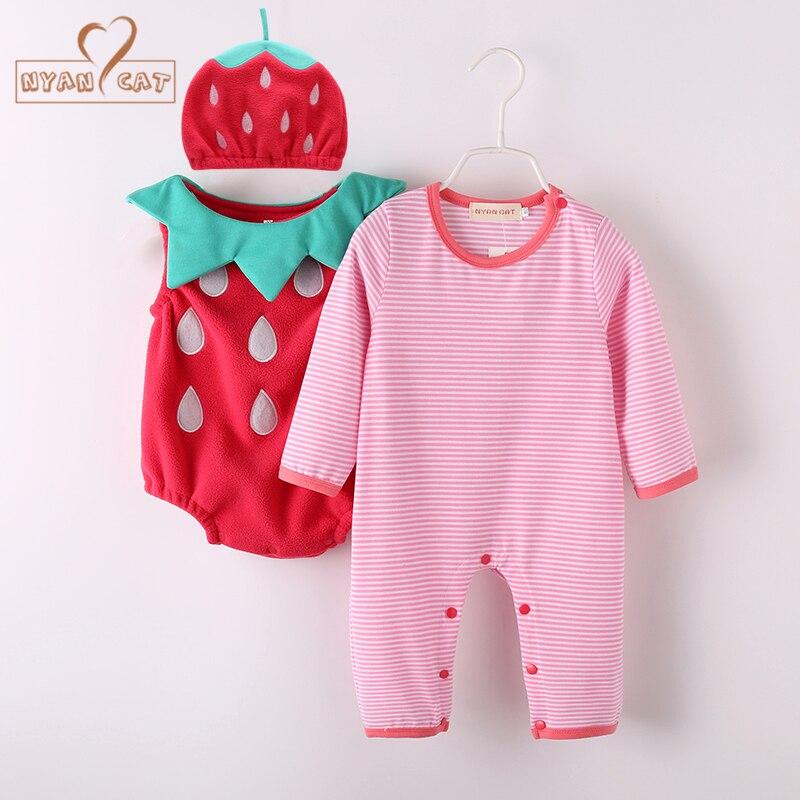 NYAN CAT Baby Girl Outfit Strawberry Costume Full Sleeve Romper Hat Vest Infant Halloween Festival Purim