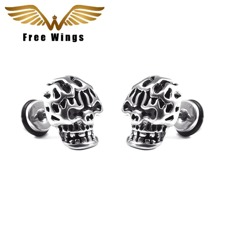 Titanium Skull Earrings Man Dumbbell Hip Rock Tide Female Personality Jewelry Stud Earrings For Women Earing Fashion Jewelry 4d5