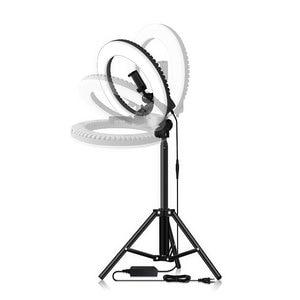 Image 2 - عكس الضوء Selfie LED مصباح مصمم على شكل حلقة 14 التصوير الدائري مصباح مع ترايبود 1.6 متر ل ماكياج الجمال استوديو الصور الإضاءة تيار مباشر