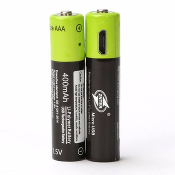 ZNTER 1PC AAA Rechargeable Lithium Battery 1.5V 400mAh with MICRO USB Charging Cable For RC Camera Drone 3