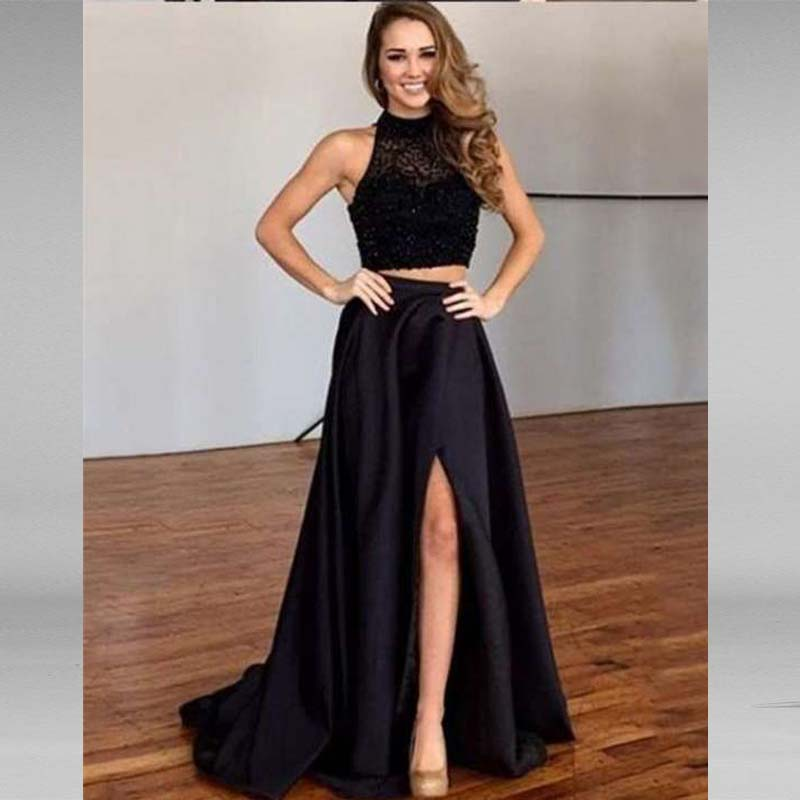 Black Long Evening Dresses Prom Dress 2 Piece Beaded Pearls New Women Formal Gown For Prom Wedding Party Dresses Robe De Soiree