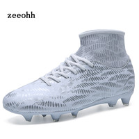zeeohh 2018 New Anti skid Stable And Sensitive Long Spikes High top Adult Children's Soccer Shoes Pattern Elastic Socks Sneakers