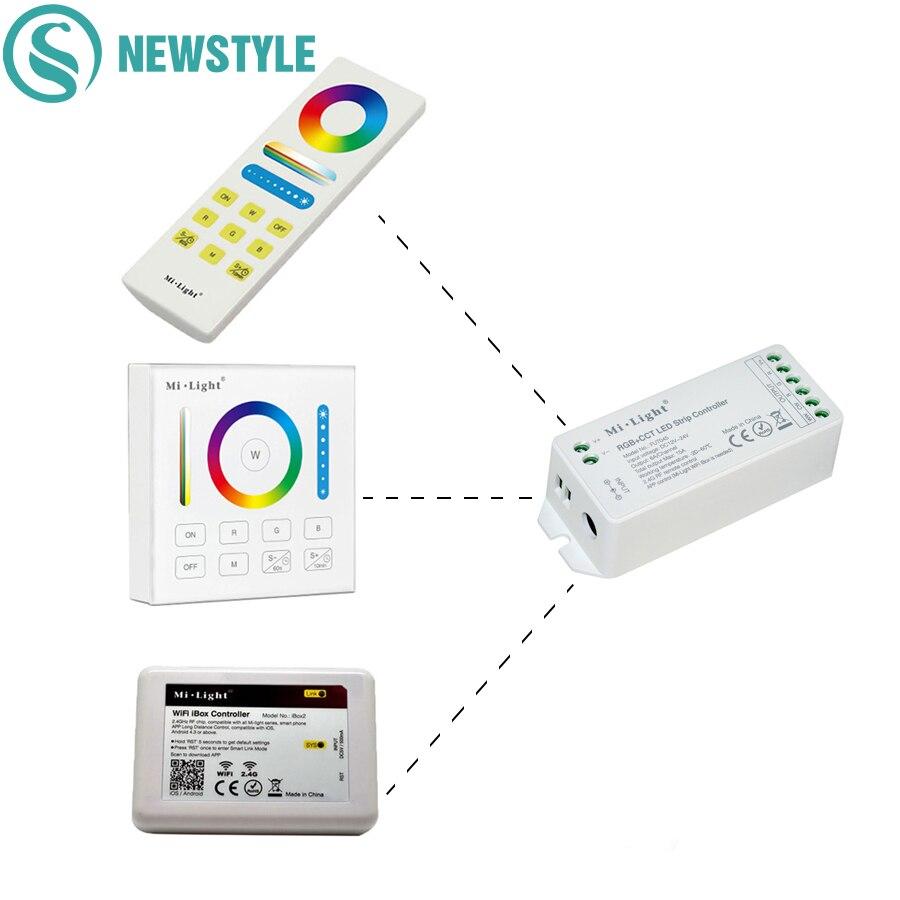 Ми свет 2.4 г Беспроводной RGB + CCT светодиодный Управление Лер Wi-Fi Цвет Температура <font><b>Smart</b></font> Touch Панель Дистанционное управление для 5050 3528 Светодиодн&#8230;