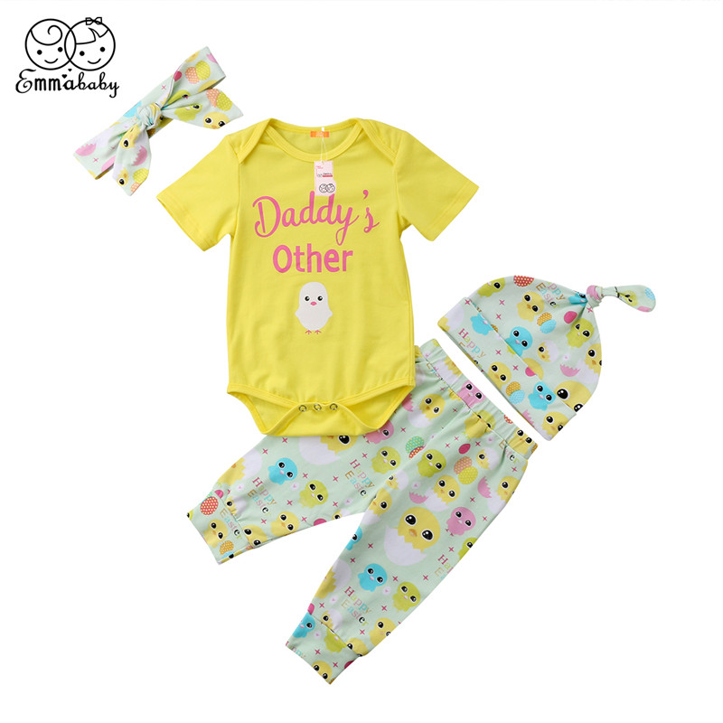 Easter Baby Boy Clothes Set 2018 Summer Infant Baby Girl Cotton Short Sleeve Romper+Printed Pants Outfit Baby Girls Clothes Set