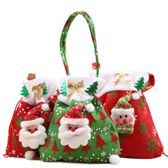 Canvas Christmas Gift Candy Bags Drawstring Favor Package Bulk Set Of Multi