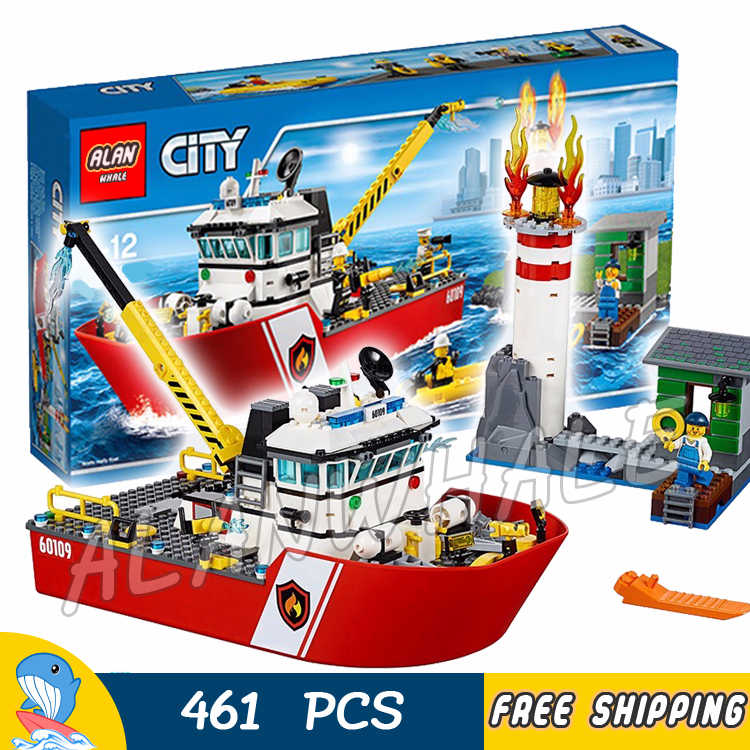 450pcs New City Fire Ship Boat Rescue Lighthouse Firefighter 02057 Figure Building Blocks Children Toys Compatible with LegoING