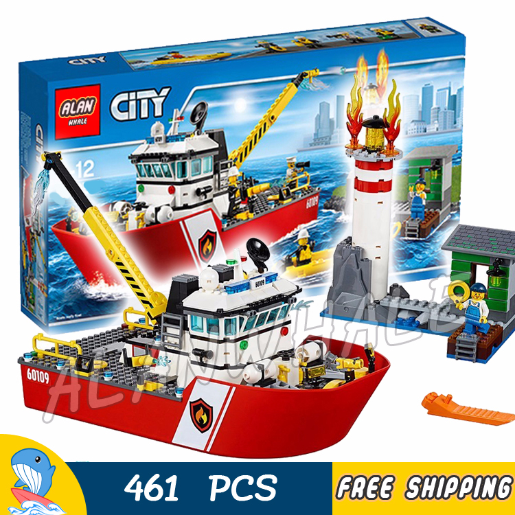 450pcs New City Fire Ship Boat Rescue Lighthouse Firefighter 02057 Figure Building Blocks Children Toys Compatible with LegoING image