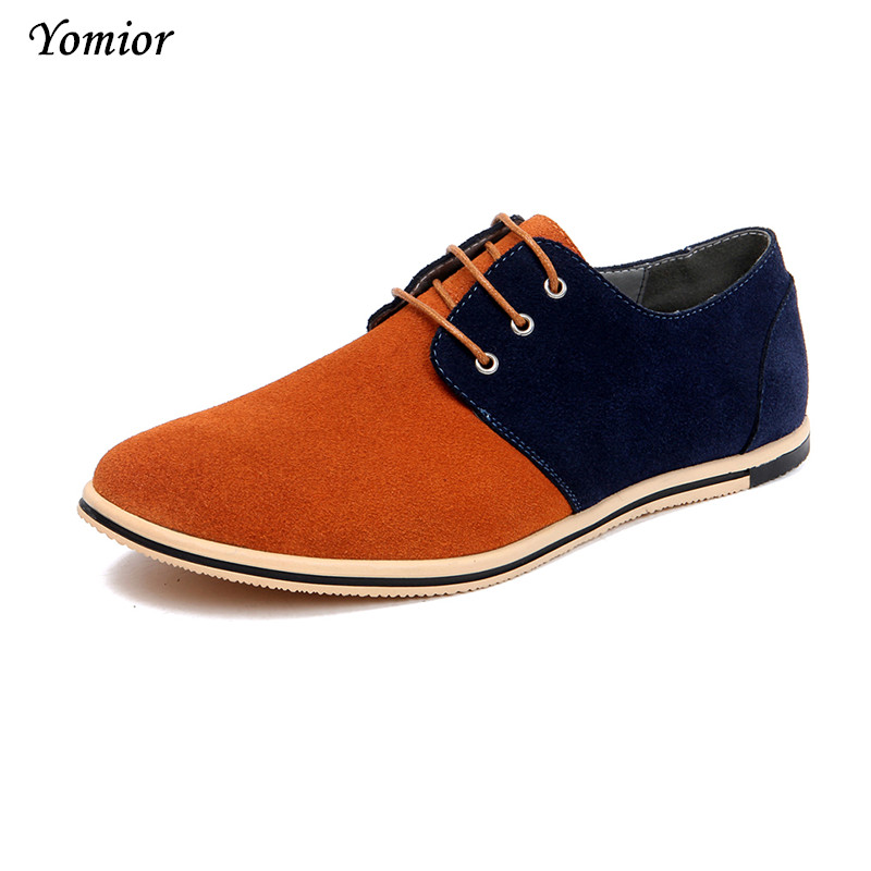 Yomior Men Leather Casual Shoe Cow Suede Men Oxfords Brand Male Shoes Chaussure Homme Zapatos Hombre High Quality Big Size 38-48 men cow split leather shoes casual loafers soft and comfortable oxfords non slip flats luxury brand designer shoe zapatos hombre