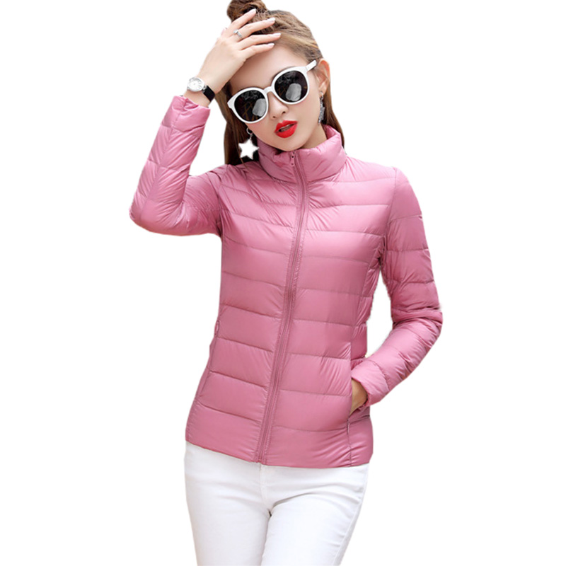 Light Thin Women   Down     Coats   Autumn Winter Short Thin Stand Collar Duck   Down   Jackets Outwear Parkas Female Slim   Down     Coat   FP0233