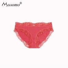 Missomo Western Style The Birth Year  Red Lace Striped Fine Rib Splice Classic Triangular Low Waist Womens Underwear
