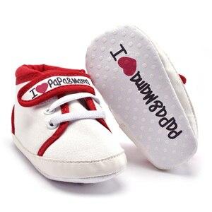 Детские мокасины для малышей 0-18 месяцев, парусиновые кроссовки на мягкой подошве с надписью «Love PAPA & MAMA» для маленьких мальчиков и девочек, нескользящая обувь для новорожденных
