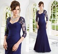 Royal Blue Plus Size Mother of the Brides Lace Dresses with Long Sleeves Appliques Sheath Mother of Groom Dress Formal Gowns
