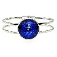 2019 New Fashion 25mm Universe Galaxy Nebula Glass Cabochon Cuff Bangles For Women Handmade Jewelry Dropshipping