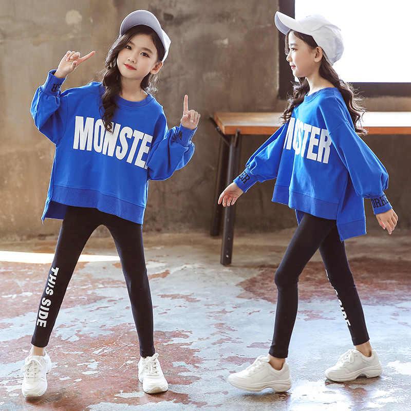 2019 Mùa Xuân Trang Phục 2 Pcs Toddler Bé Cô Gái Dài Tay Áo T-Shirt Áo Nỉ + Quần Áo Trẻ Em Quần Áo Đặt Trang Phục 10 12 14 năm