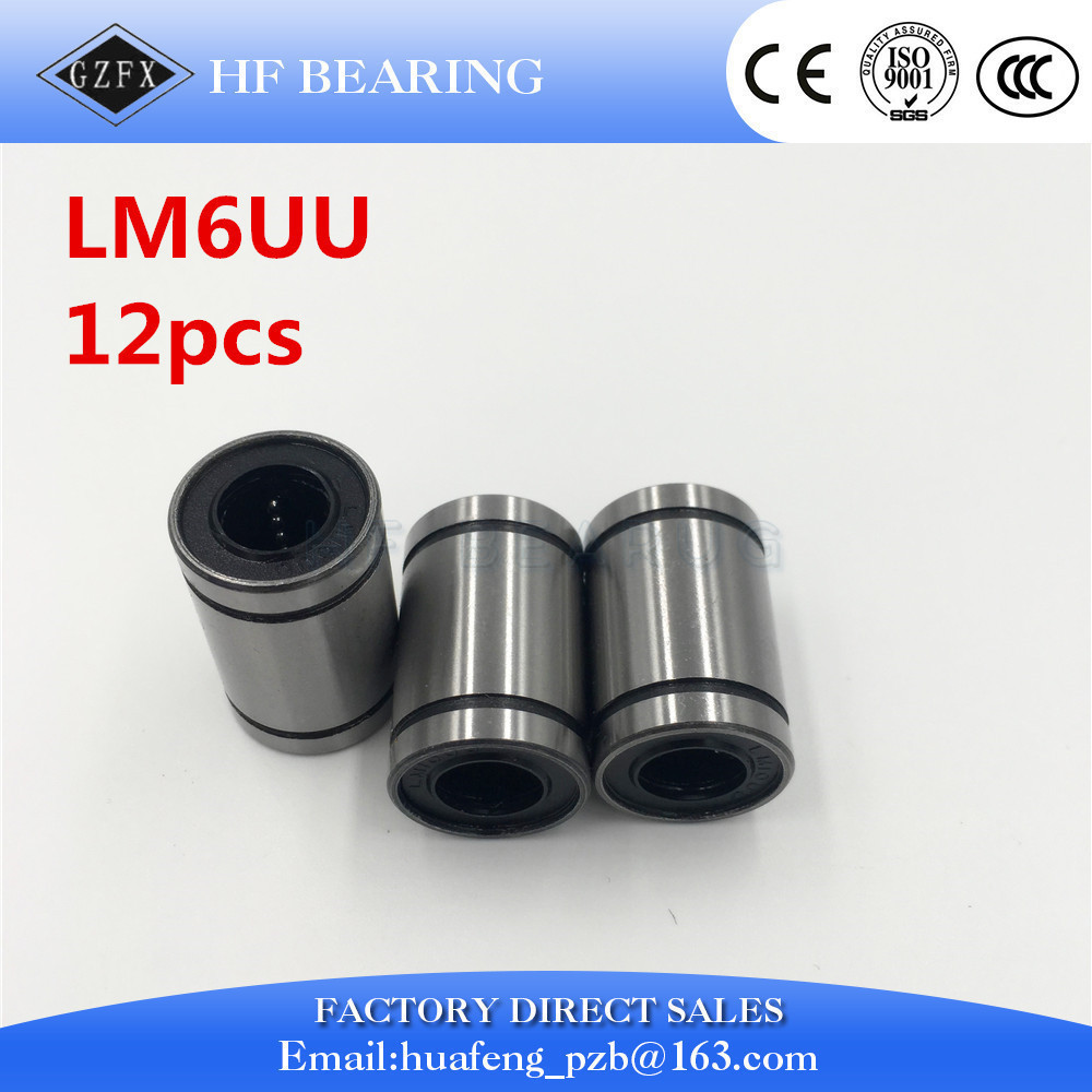 Free Shipping 12pcs/lot LM6UU 6mm 6mmx12mmx19mm Linear Ball Bearing Bush Bushing CNC 6x12x19mm 1pc scv40 scv40uu sc40vuu 40mm linear bearing bush bushing sc40vuu with lm40uu bearing inside for cnc