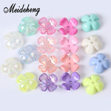 27mm Color Plating Acrylic Transparent Four Plated Petal Flower Beads Hair For Kids Wholesale Rich Handmade Crafts