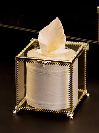 Европейская прямоугольная стеклянная металлическая коробка для ткани гостиной дома обеденного стола отеля KTV бумажная коробка для хранения полотенец декоративные аксессуары