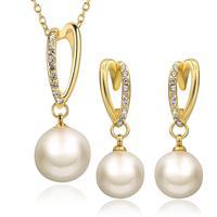 Inalis 2017 najniższa cena wysokiej jakości 100% naturalne słodkowodne pearl jewelry sets kobiety na wesele wisiorek + kolczyki