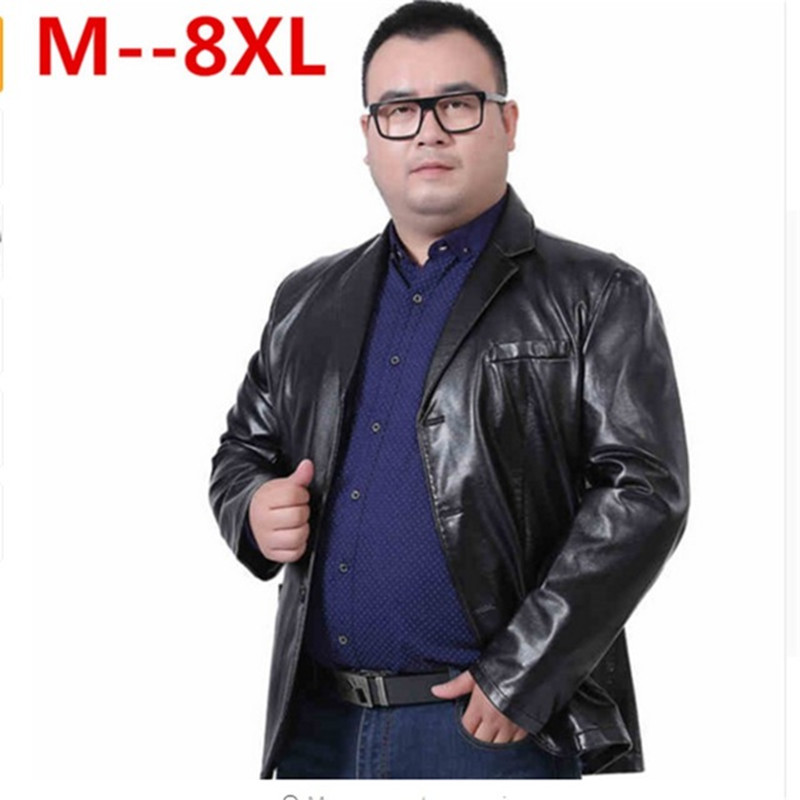 10XL 8XL 6XL Mens Leather Jackets Fashion Loose Solid Coat PU Clothes Male Winter Long Sleeves Stand Collar Motorcycle Leather