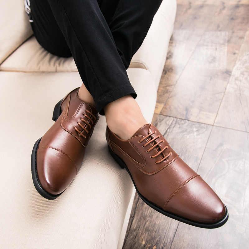 Merkmak 2018 الرجال اللباس البروغ حذاء أيرلندي الأحذية العلامة التجارية جلد طبيعي الرسمي الشقق تنفس السادة أكسفورد الدانتيل يصل الزفاف أحذية