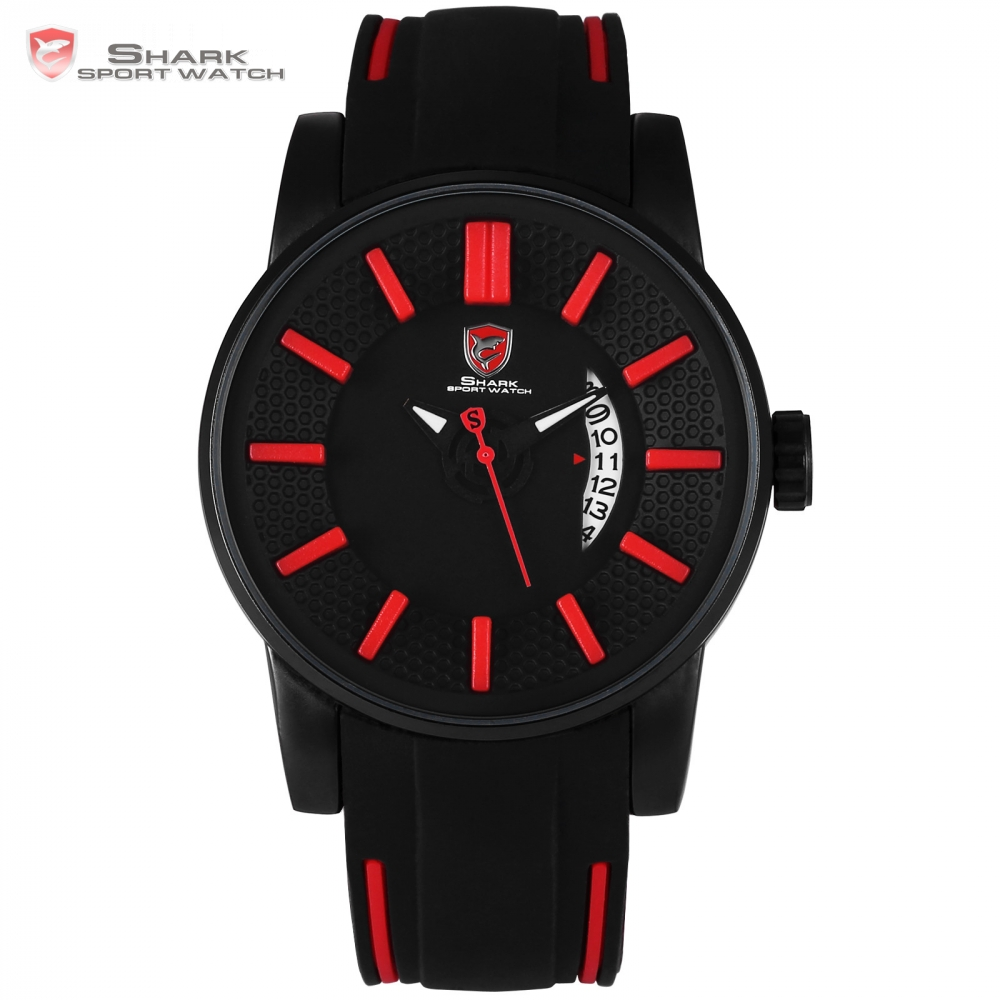 Grey Reef Shark Sport Watch Red 3D Special Design Date Silicone Strap Quartz Watch Men Waterproof Relogio Masculino Gift / SH478 goblin shark sport watch 3d logo dual movement waterproof full black analog silicone strap fashion men casual wristwatch sh165