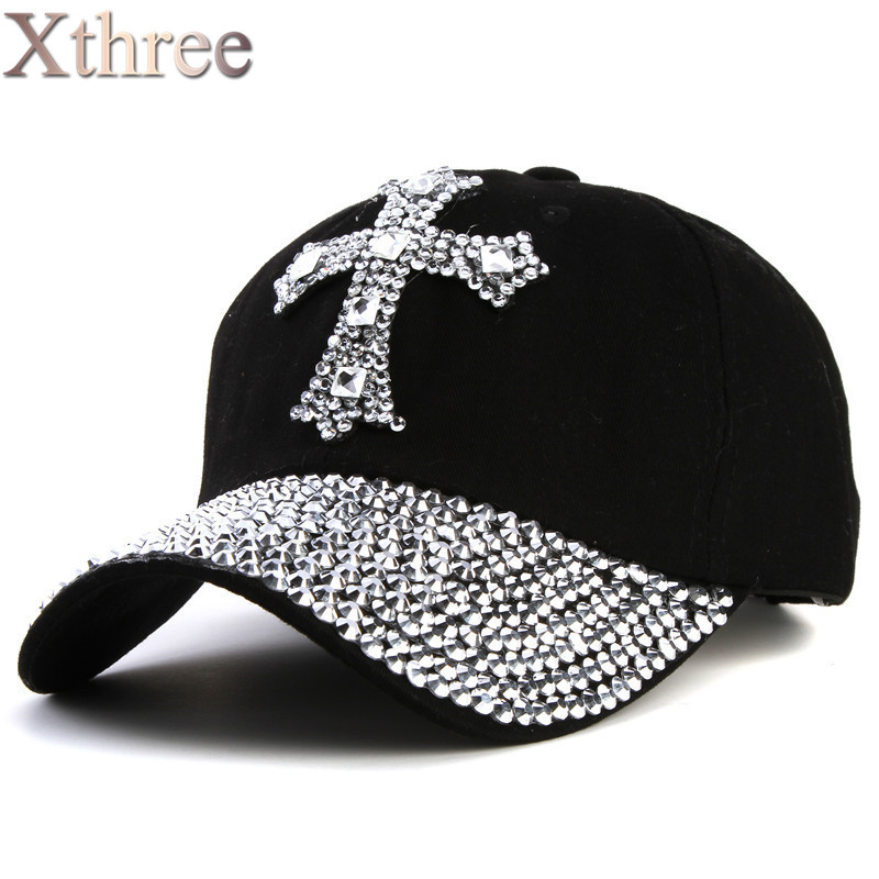 xthree New black Rhinestone baseball caps
