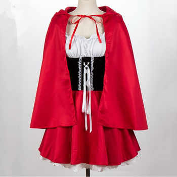 Adult Women Halloween Costume Little Red Riding Hooded Fantasy Game Uniforms Fancy Dress Party Cloak Outfit For Girls S-6XL