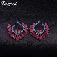 Feelgood de Lujo Joyería de Moda Red Cubic Zirconia Stud Earring Pendientes Flor Para Las Mujeres Del Banquete de Boda de Regalo de Color Oro Negro