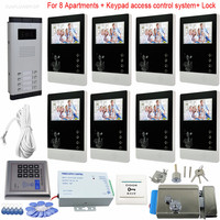 Villa Doorphone Video Intercom 8 Color Screens 4 3 With Rfid Code Keypad System CCD Door