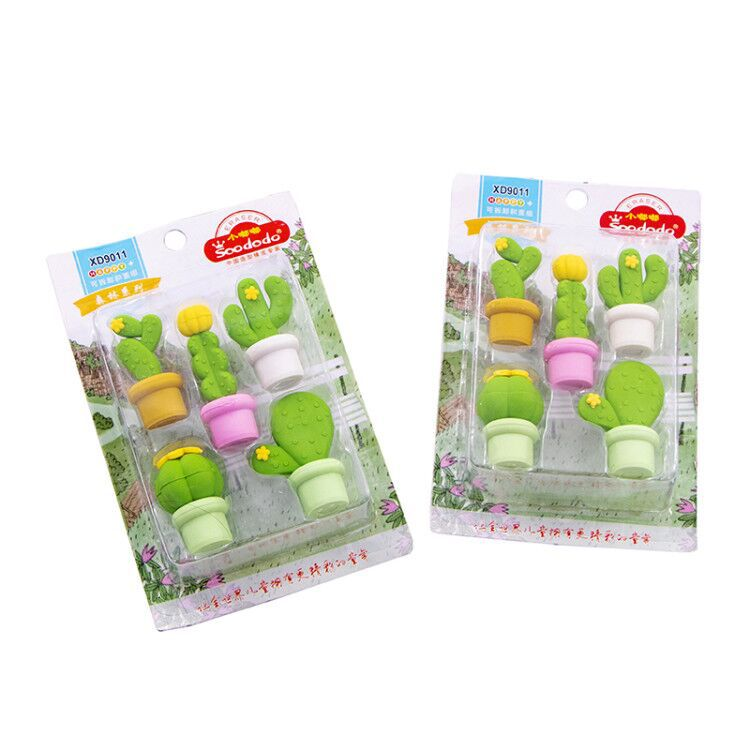 Image 5 - 12 pack/lot Cactus Series Eraser Set Rubber Eraser Primary Student Prizes Promotional Gift Stationery-in Eraser from Office & School Supplies