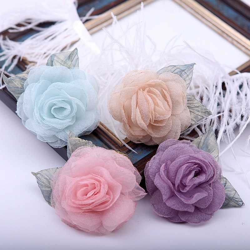 Flores de encaje hechas a mano 4 unids/lote tela de encaje poliéster apliques encaje adornos costura de ropa DIY suministros telas 19602