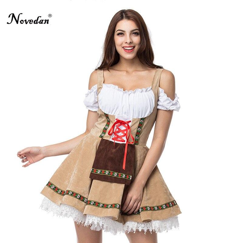 Sexy muchacha de la cerveza Oktoberfest traje Maid Wench Alemania Baviera manga corta vestido de lujo Dirndl para las mujeres adultas Cosplay