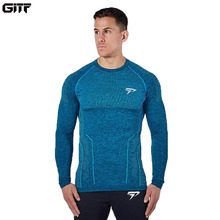 GITF Spring Running T Shirts Quick Dry Mens Tops Tees Shirt Men long Sleeve Slim Male GYM sports Training t Shirt clothing