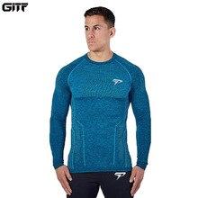 GITF t shirt manches longues pour homme, à séchage rapide, vêtement de sport, Slim, pour la course au printemps