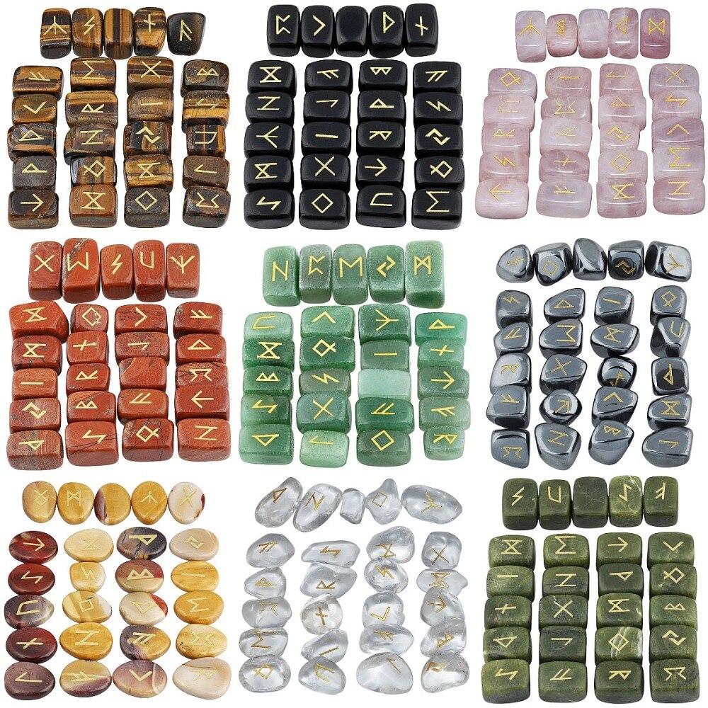 TUMBEELLUWA 25 pz/set Rune Stones Inciso Anziano Futhark Runic Alfabeti Wicca di Cristallo di Guarigione Reiki