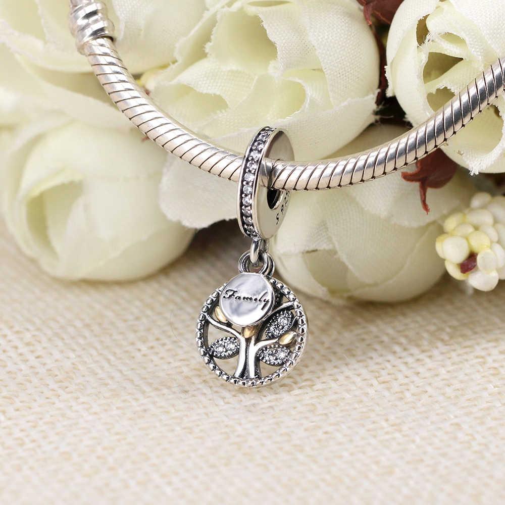 NBSAMENG cuenta en plata esterlina 925 Golden Hollow Árbol de la vida CZ cuentas encanto Ajuste Original Pandora pulseras joyería de las mujeres