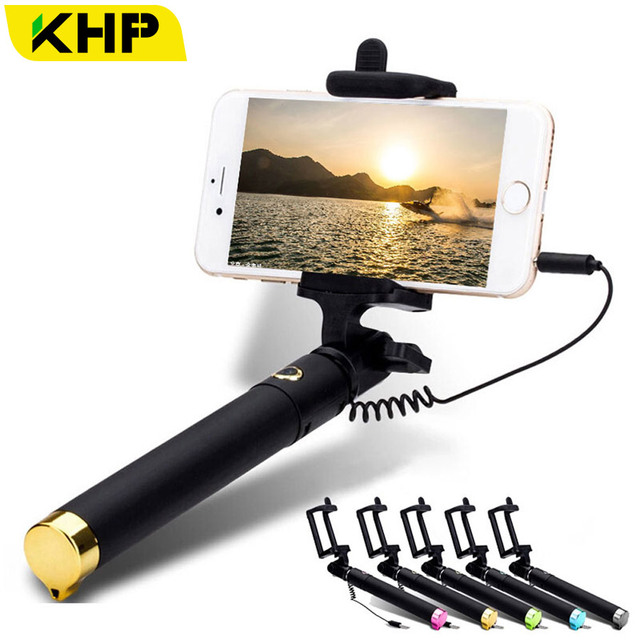 HOT KHP Portable Selfie Stick For iPhone 6 6S Plus 4 4S 5 5S Android Samsung Galaxy s4 s5 s6 LG Sony Zenfone Metal Tube Selfie