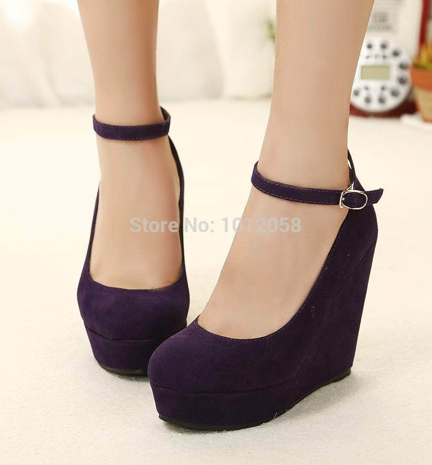 Aliexpress.com : Buy Cheap Women Black Closed Toe Wedge Shoes ...