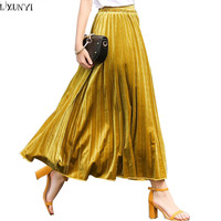 Casual Long Pleated Skirts For Women Jupe Femme Ete 2017 Spring Summer New Velvet Skirt Woman