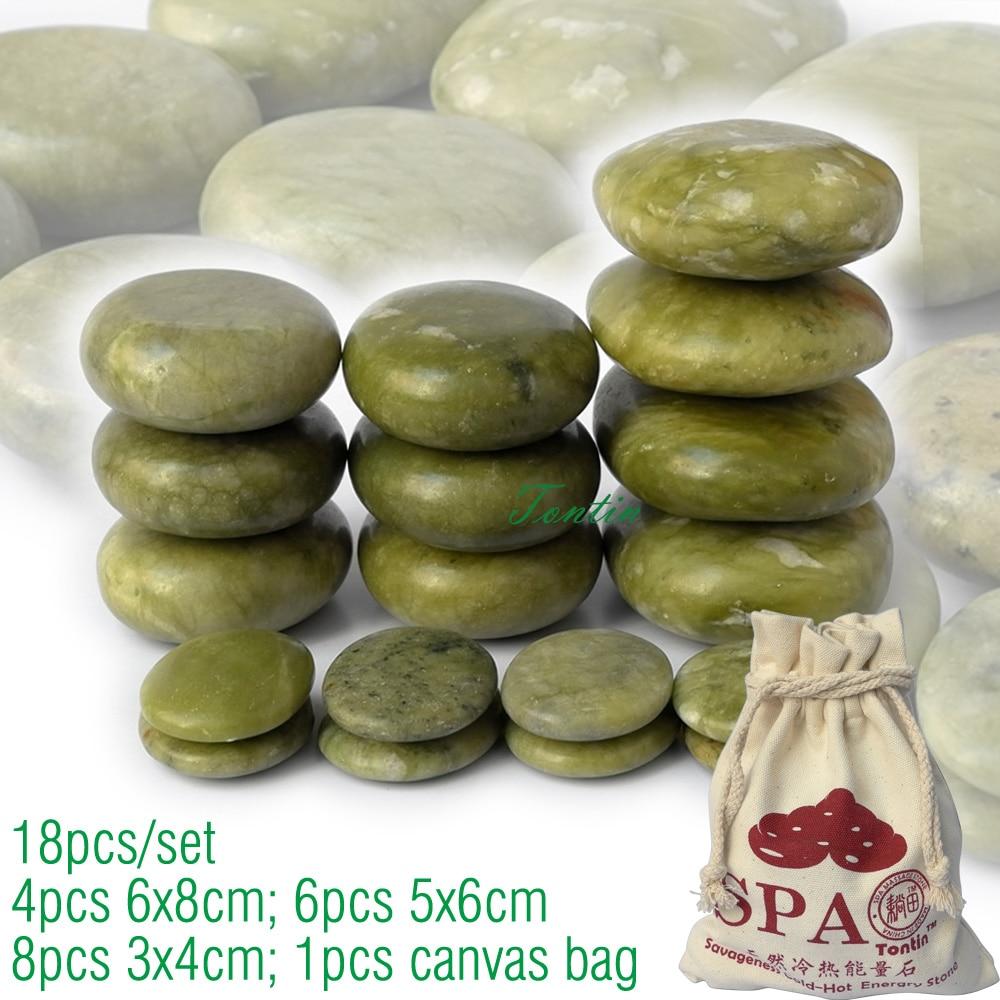 new 18pcs/set green jade body massage hot stone SPA with canvas CE and ROHS 4pcs(6x8)+6pcs(5x6)+8