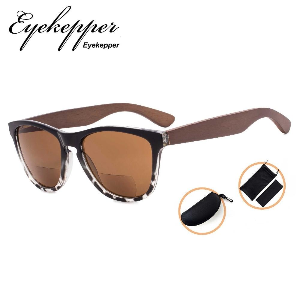 SGH001-6 Eyekepper Bifocal Sunglasses Reading Sunglasses with Wood Temples