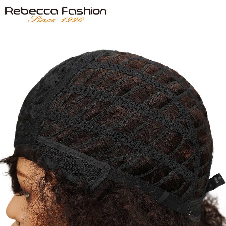 Rebecca афро кудрявый парик бразильские Remy человеческие волосы короткие парики для женщин коричневый красное вино 10 цветов выбор Бесплатная доставка
