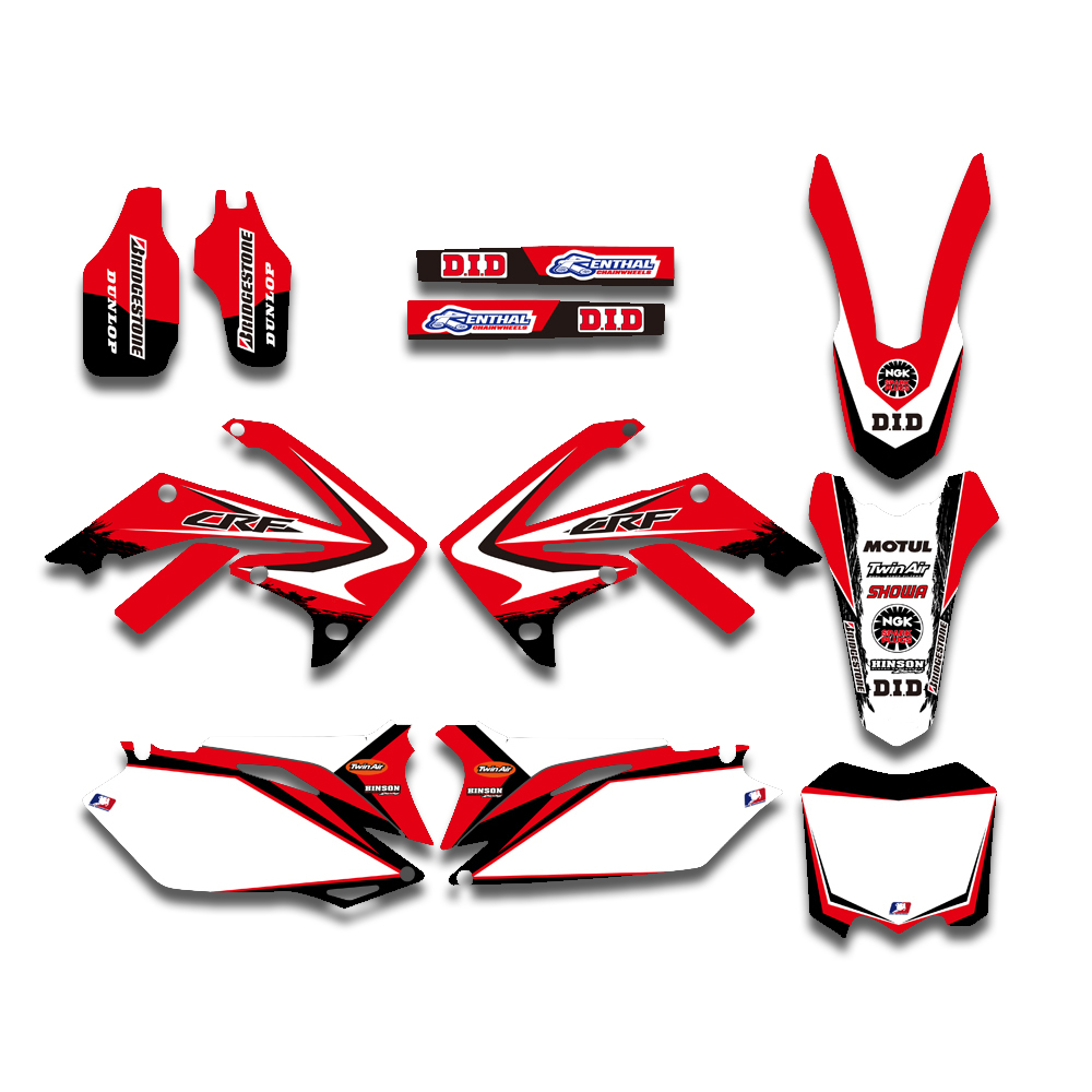 TEAM GRAPHICS & BACKGROUND DECALS STICKER Kits For Honda CRF250R CRF250 2010-2013 CRF450R CRF450 2009-2012 CRF 250 450 250R 450R for honda crf 250r 450r 2004 2006 crf 250x 450x 2004 2015 red motorcycle dirt bike off road cnc pivot brake clutch lever
